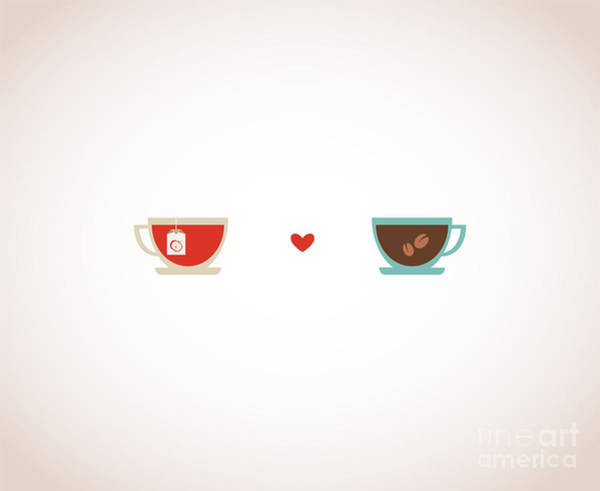 Valentines Digital Art - Coffee And Tea In Love Cups by Jennylipets