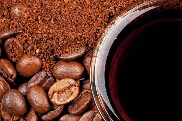 Coffee Photograph - Coffee Beans And Powder by Georg Hanf