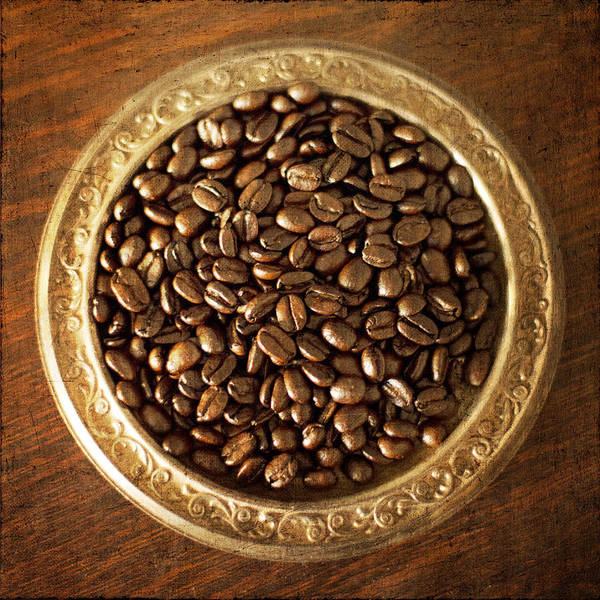 Photograph - Coffee Beans On Antique Silver Platter by Renee Hong