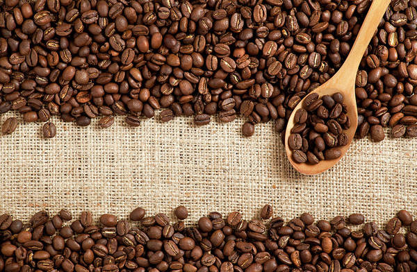 Material Photograph - Coffee Beans On Burlap by Barcin