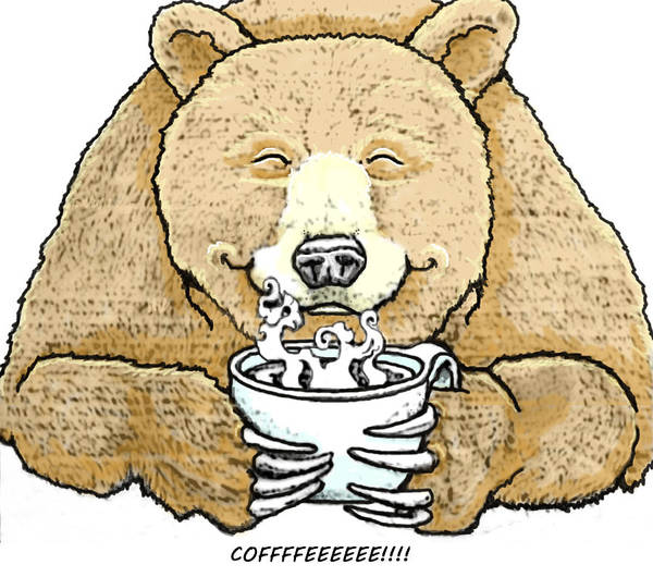 Grizzlies Mixed Media - Coffee Bear by Lorna Babcock