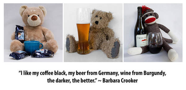 Sock Monkey Photograph - Coffee Beer And Wine 2 by William Patrick