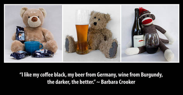 Sock Monkey Photograph - Coffee Beer And Wine by William Patrick
