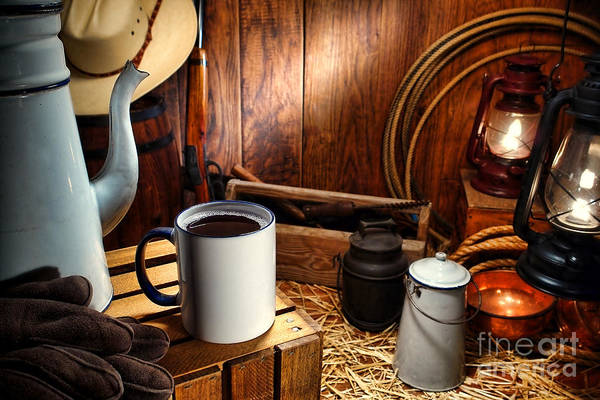 Enamel Wall Art - Photograph - Coffee Break At The Chuck Wagon by Olivier Le Queinec