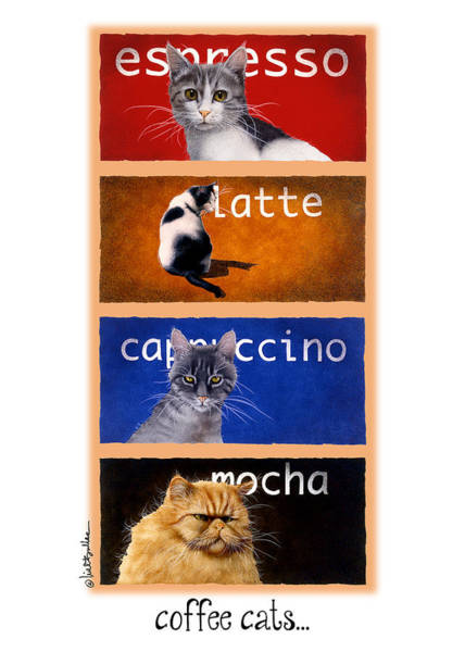 Bullis Painting - Coffee Cats... by Will Bullas