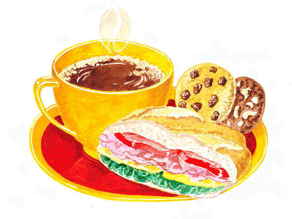 Painting - Coffee Cookies Sandwich Lunch by Irina Sztukowski