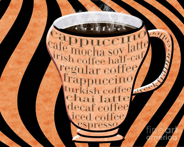 Digital Art - Coffee Cup With Stripes Typography Orange by Andee Design