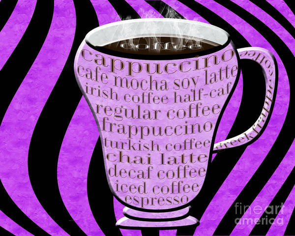 Digital Art - Coffee Cup With Stripes Typography Purple by Andee Design