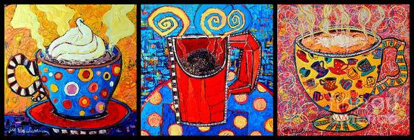 Wall Art - Painting - Coffee Cups Triptych  by Ana Maria Edulescu