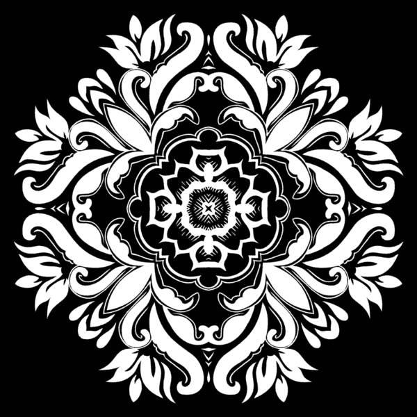 Digital Art - Coffee Flowers 10 Bw Ornate Medallion by Angelina Tamez
