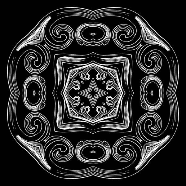 Digital Art - Coffee Flowers 2 Bw Ornate Medallion by Angelina Tamez
