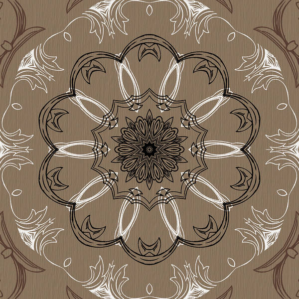 Digital Art - Coffee Flowers 3 Ornate Medallion by Angelina Tamez