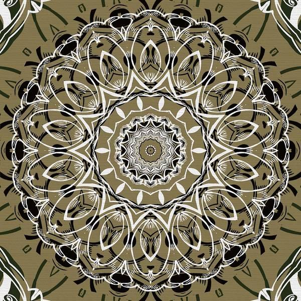 Cosmology Digital Art - Coffee Flowers 7 Olive Ornate Medallion by Angelina Tamez