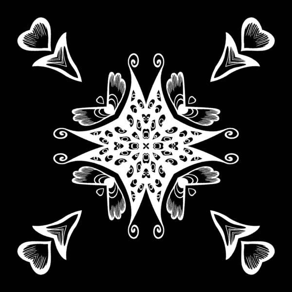 Cosmology Digital Art - Coffee Flowers 9 Bw Ornate Medallion by Angelina Tamez