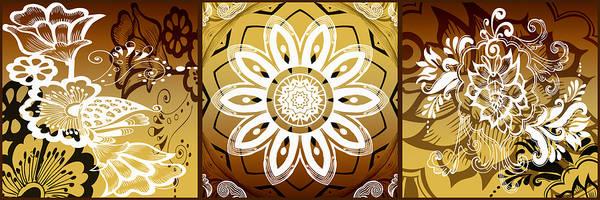 Cosmology Digital Art - Coffee Flowers Calypso Triptych 2 Horizontal   by Angelina Tamez