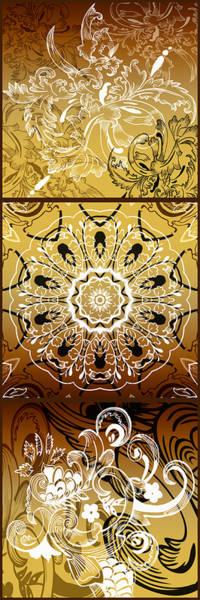 Cosmology Digital Art - Coffee Flowers Calypso Triptych 3 Vertical by Angelina Tamez