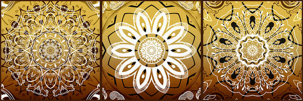 Cosmology Digital Art - Coffee Flowers Medallion Calypso Triptych 2  by Angelina Tamez