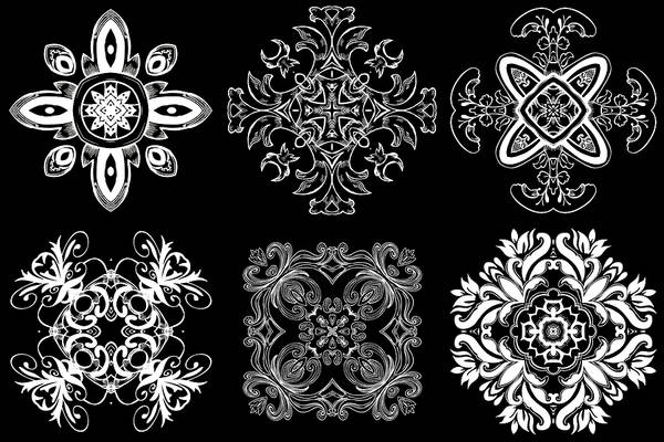 Cosmology Digital Art - Coffee Flowers Ornate Medallions Bw 6 Peice Collage by Angelina Tamez