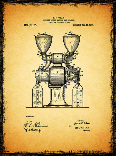 Coffee Grinder Wall Art - Photograph - Coffee Grinder Patent 1911 by Mark Rogan