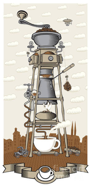 House Digital Art - Coffee House In The City by Paseven