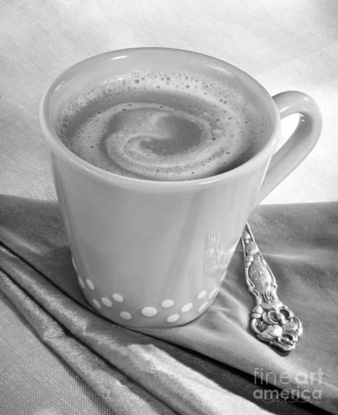 Wall Art - Photograph - Coffee In Tall Yellow Cup Black And White by Iris Richardson