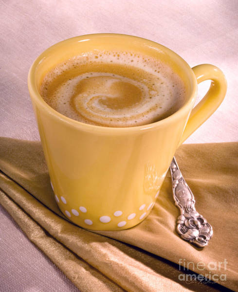 Wall Art - Photograph - Coffee In Yellow Cup by Iris Richardson