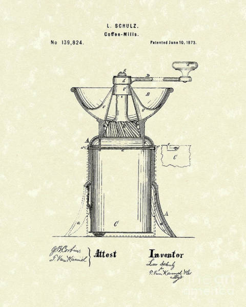 Drawing - Coffee Mill 1873 Patent Art by Prior Art Design
