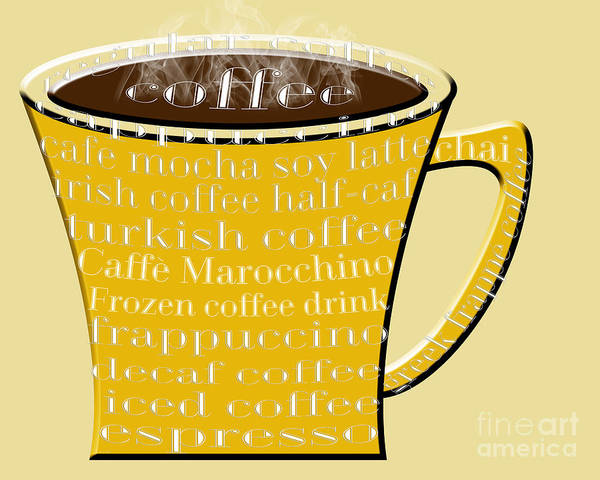 Digital Art - Coffee Mug Yellow Typography by Andee Design