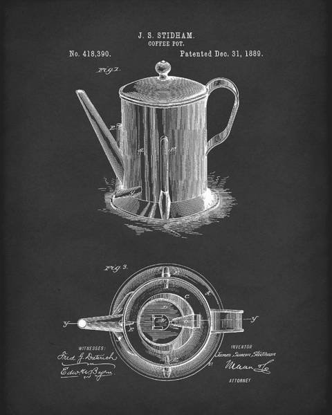 Drawing - Coffee Pot 1889 Patent Art Black by Prior Art Design