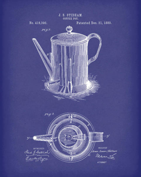 Drawing - Coffee Pot 1889 Patent Art Blue by Prior Art Design