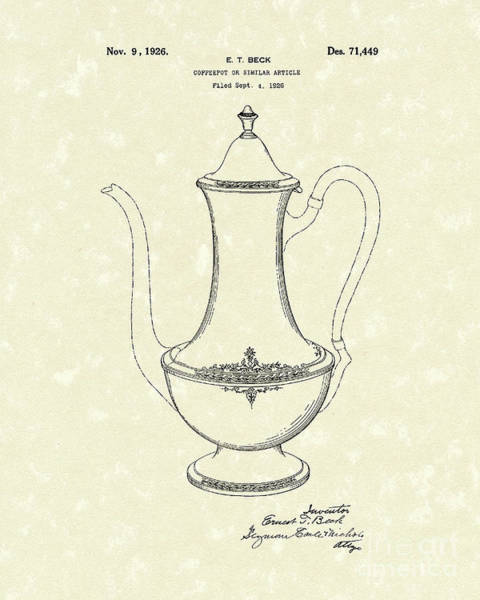 Coffee Drawing - Coffee Pot 1926 Patent Art by Prior Art Design