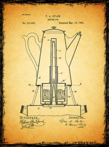 Coffee Grinder Wall Art - Photograph - Coffee Pot Patent 1885 by Mark Rogan