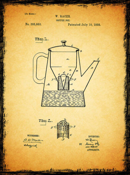 Coffee Grinder Wall Art - Photograph - Coffee Pot Patent 1888 by Mark Rogan