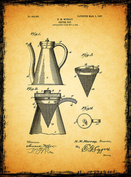 Coffee Grinder Wall Art - Photograph - Coffee Pot Patent 1907 by Mark Rogan