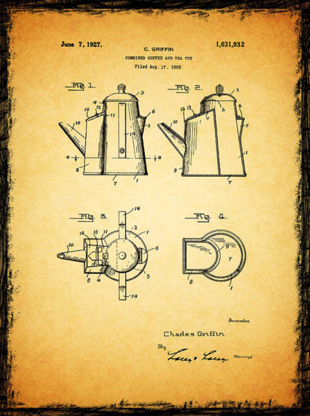 Coffee Grinder Wall Art - Photograph - Coffee Pot Patent 1927 by Mark Rogan