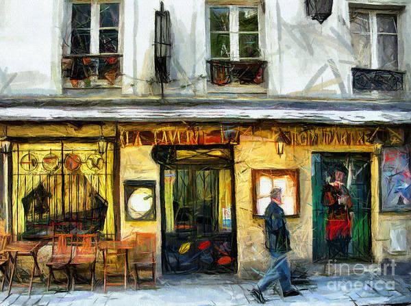 Pastel - Coffee Shop Paris - Pastel  by Daliana Pacuraru