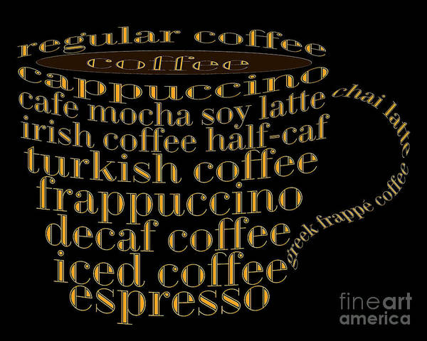 Digital Art - Coffee Shoppe Coffee Names Black 1 Typography by Andee Design