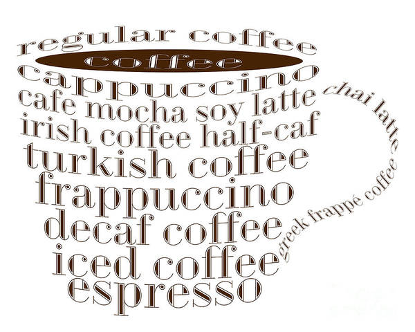 Digital Art - Coffee Shoppe Coffee Names Typography by Andee Design
