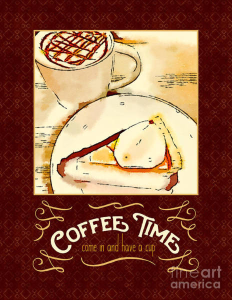 Digital Art - Coffee Time With Caramel Macchiato And Pumpkin Pie by Beverly Claire Kaiya