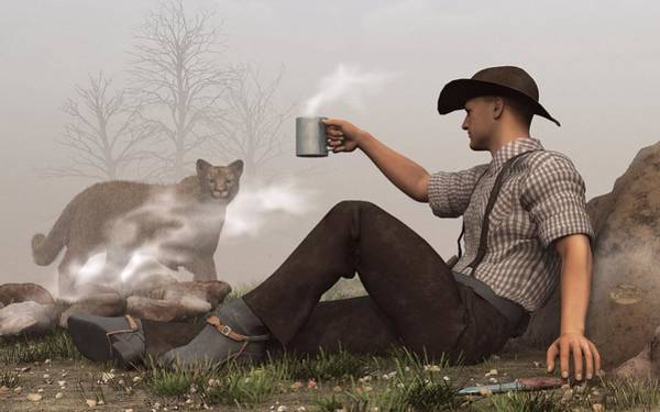 Camping Wall Art - Digital Art - Coffee With A Cougar by Daniel Eskridge
