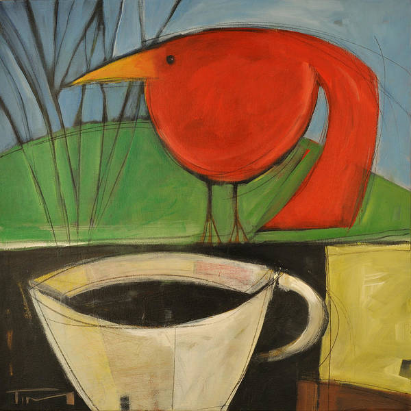Painting - coffee with red bird II by Tim Nyberg