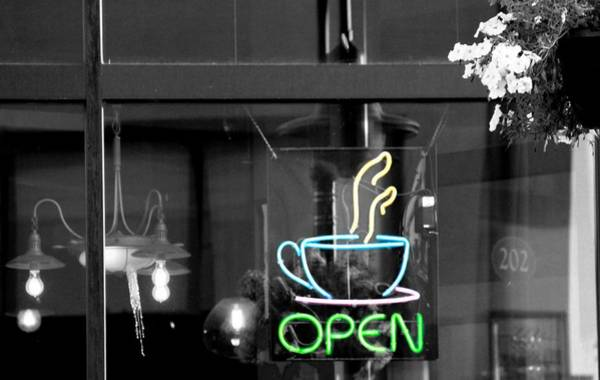 Wall Art - Photograph - Coffeehouse Open Neon Sign by Dan Sproul