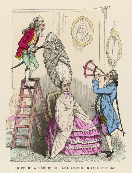 Wall Art - Drawing - Coiffeurs At Work On An Extravagant by Mary Evans Picture Library