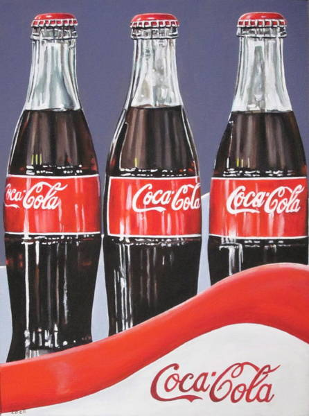 Soda Pop Painting - Coca Cola Bottles by Lillian  Bell