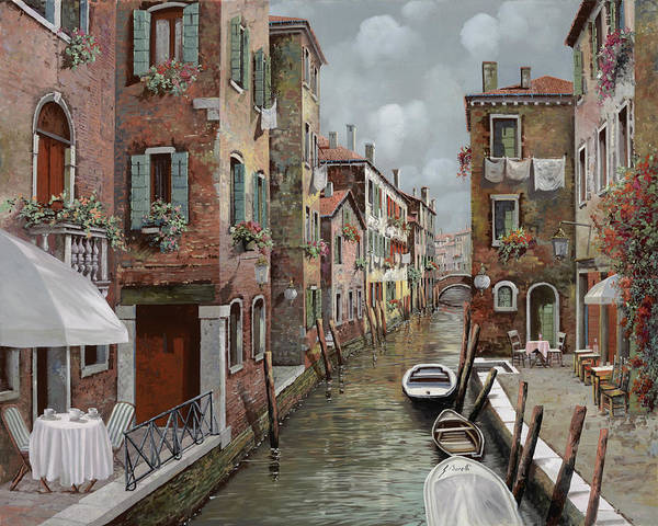 Wall Art - Painting - colazione a Venezia by Guido Borelli