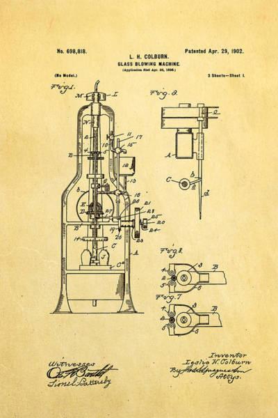 Wall Art - Photograph - Colburn Glass Blowing Machine Patent Art 1902 by Ian Monk