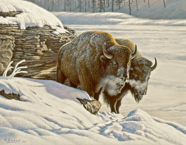 Wall Art - Painting - 'cold Day At Soda Butte' by Paul Krapf