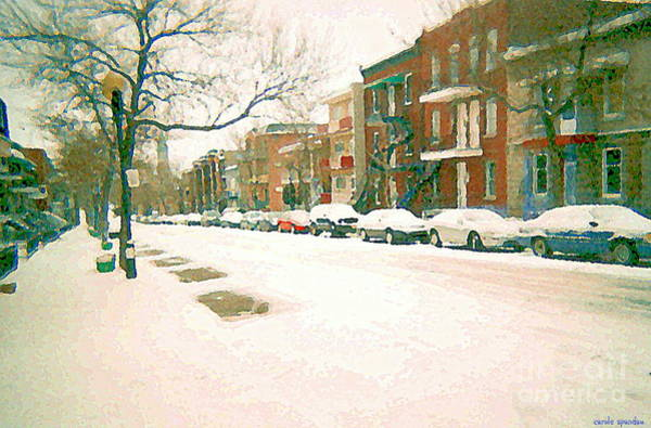 Painting - Cold Day In Montreal Pointe St Charles Art Winter Cityscene Painting After Big Snowfall Psc Cspandau by Carole Spandau