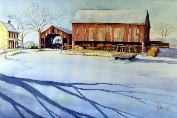 Long Shadow Painting - Cold Harvest by Mick Williams