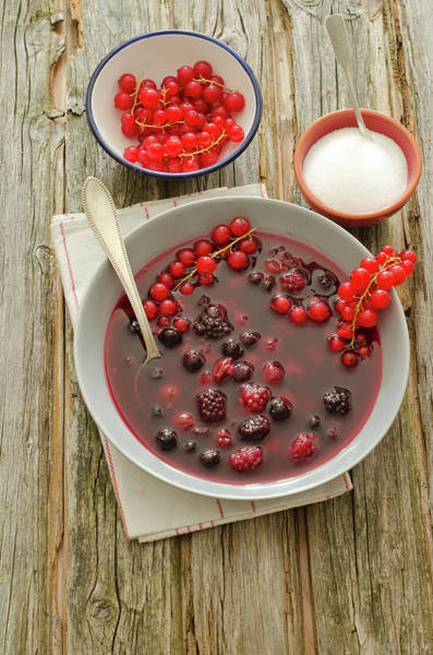 Currants Photograph - Cold Sweet Soup With Berries On Wooden by Westend61
